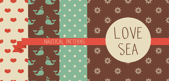Marine seamless backgrounds. Set of cute simple nautical pattern, marine seamless backgrounds, vector illustration Stock Photography
