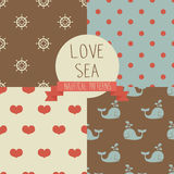 Marine seamless backgrounds. Set of cute simple nautical pattern, marine seamless backgrounds, vector illustration Stock Photos