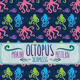 Marine seamless octopus pattern. Marine seamless octopus cartoon pattern vector background Royalty Free Stock Photo