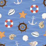 Marine seamless pattern. Vector illustration Royalty Free Stock Photos