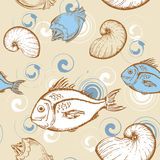 Marine seamless pattern. Vector marine seamless pattern with fish and shells Royalty Free Stock Photo