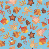 Marine seamless pattern. Vector seamless background with sea animals Royalty Free Stock Image