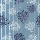 Marine seamless pattern. Seamless blue texture with clams. Vector illustration EPS8 Stock Image