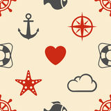 Marine seamless pattern Royalty Free Stock Photography
