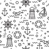 Marine seamless pattern with anchor and sailboat. Seamless Marine pattern in thin line memphis style. Pattern with sailboat, anchor, steering wheel and lifebuoy Royalty Free Stock Images