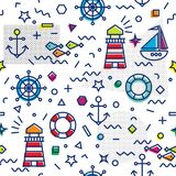 Marine seamless pattern with anchor and sailboat Royalty Free Stock Photography