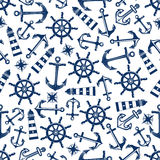 Marine seamless pattern with blue items Stock Photography