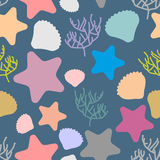 Marine seamless pattern. Colored silhouettes of marine life. Sca. Llops and starfish. Vector background Stock Photography
