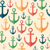 Marine seamless pattern with colorful anchors. Stock Photos