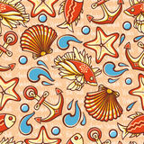 Marine seamless pattern with colorful figures. Fish and tools. Sea and river inh. Abitants.  Nautical ornament. Sea texture. Vector Stock Images