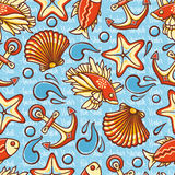 Marine seamless pattern with colorful figures. Fish and tools. Sea and river inh. Abitants.  Nautical ornament. Sea texture. Vector Royalty Free Stock Images