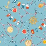Marine Seamless Pattern com nó e pedras preciosas da corda Fundo náutico da tela com o ornamento e os diamantes da marinha do laç ilustração do vetor