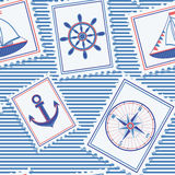 Marine seamless pattern. Cute background with nautical marks. Pictures with marine things: anchor, compass,  sailboat and steering wheel. Colorful Vector Royalty Free Stock Photography