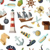 Marine seamless pattern with different pirates items. Vector pirate, travel, steering wheel and bottle of rum, anchor and cross sword illustration Stock Photo