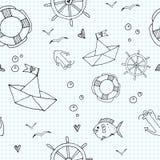 Marine seamless pattern Royalty Free Stock Image