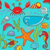 Marine seamless pattern, endless texture of sea world Stock Image