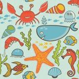 Marine seamless pattern, endless texture of sea world Royalty Free Stock Photography