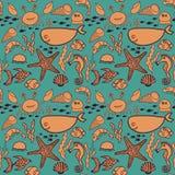 Marine seamless pattern, endless texture of sea world Stock Photo