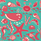 Marine seamless pattern, endless texture of sea world Royalty Free Stock Images