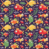 Marine seamless pattern with fishes Royalty Free Stock Image