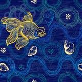 Marine seamless pattern. Hand drawn  illustration with sea Stock Photo