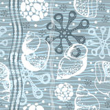 Marine seamless pattern. Hand drawn  illustration with sea Stock Images