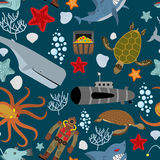 Marine seamless pattern. Inhabitants of the ocean. Keith and aqu Royalty Free Stock Photography
