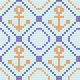 Marine seamless pattern. Nautical knitted seamless pattern with anchor and sailboat pattern. Vector illustration. royalty free illustration