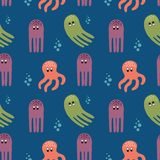 Marine seamless pattern with octopus. Sea seamless pattern in cartoon style octopus Royalty Free Stock Image