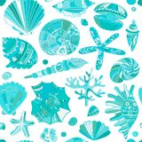 Marine seamless pattern, ornate seashells for your design Royalty Free Stock Photography