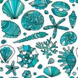 Marine seamless pattern, ornate seashells for your design Royalty Free Stock Photo