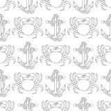 Marine seamless pattern with sea objects and animals. Royalty Free Stock Photos