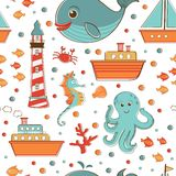 Marine seamless pattern with sea related items Stock Photography