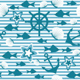 Marine seamless pattern. Sea stripped pattern with anchor and fishes Stock Photo