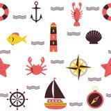 Marine seamless pattern. Sea theme. Nautical background Stock Images