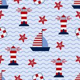 Marine seamless pattern with ship, starfish, lighthouse and lifebuoy. Sea and wave theme. Vector illustration Royalty Free Stock Image