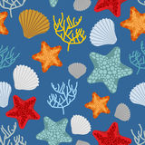 Marine seamless pattern. Starfish, scallop and corals. Clam shel Royalty Free Stock Photography