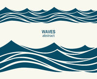 Marine seamless pattern with stylized blue waves on a light back Stock Image