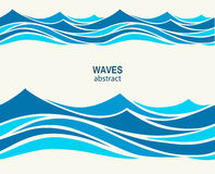 Marine seamless pattern with stylized blue waves on a light back Royalty Free Stock Photo