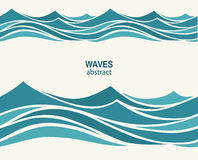 Marine seamless pattern with stylized blue waves on a light back. Ground. Water rWave abstract design Stock Photo