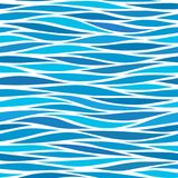 Marine seamless pattern with stylized blue waves on a light back. Ground. Water Wave abstract design royalty free illustration