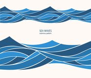 Marine seamless pattern with stylized blue waves on a light back. Ground. Water Wave abstract design Stock Photography