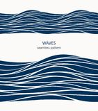 Marine seamless pattern with stylized blue waves on a light back. Ground. Water Wave abstract design Royalty Free Stock Photo