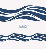 Marine seamless pattern with stylized blue waves on a light back. Ground. Water Wave abstract design Royalty Free Stock Images