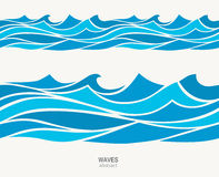 Marine seamless pattern with stylized blue waves on a light background. Water rWave abstract design Stock Photos