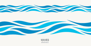 Marine seamless pattern with stylized blue waves on a light background. Water rWave abstract design Royalty Free Stock Photography