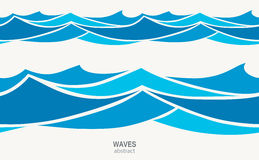 Marine seamless pattern with stylized blue waves on a light background. Water rWave abstract design Royalty Free Stock Image