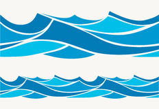 Marine seamless pattern with stylized blue waves on a light background. Water rWave abstract design Royalty Free Stock Photo