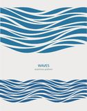Marine seamless pattern with stylized blue waves on a light background. Water Wave abstract design Royalty Free Stock Images