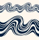 Marine seamless pattern with stylized blue waves. On a light background. Water Wave abstract design Stock Photography